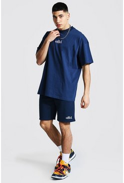 Navy Oversized Offcl Extended Neck T-shirt & Short