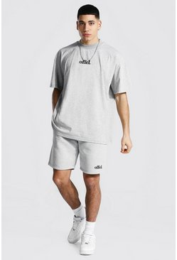 Grey marl grey Oversized Offcl Extended Neck T-shirt & Short