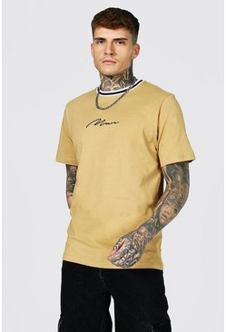 Sand beige Man Signature Sports Rib Neck T-shirt