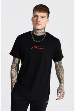 Black Man Signature Slim  Curved Hem Tape Sleeve T-shirt