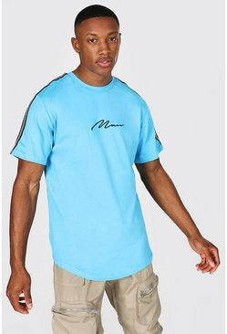 Bright blue blue Man Signature Curved Hem Tape Slim T-shirt