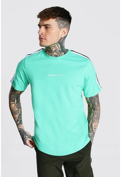 Jade green Man Official Curved Hem Tape Sleeve T-shirt