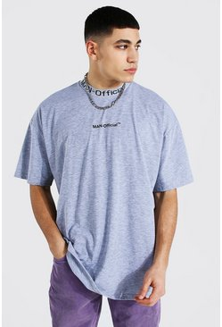 Grey marl grey Oversized Man Official Jacquard Neck T-shirt
