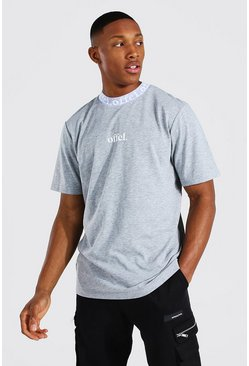 Grey marl grey Offcl Man Jacquard Neck T-shirt