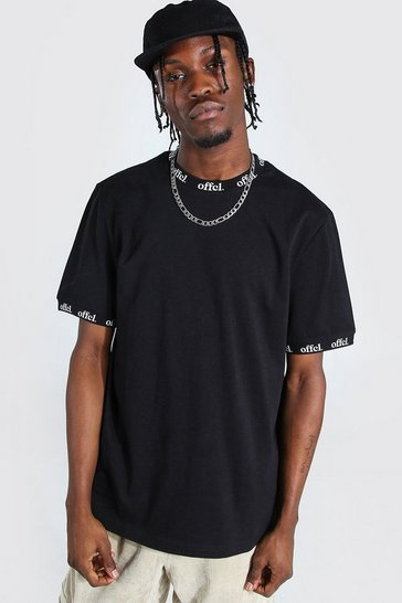 Black Offcl Neck And Cuff Print T-shirt
