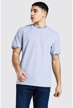 Grey marl grey Offcl Neck And Cuff Print T-shirt
