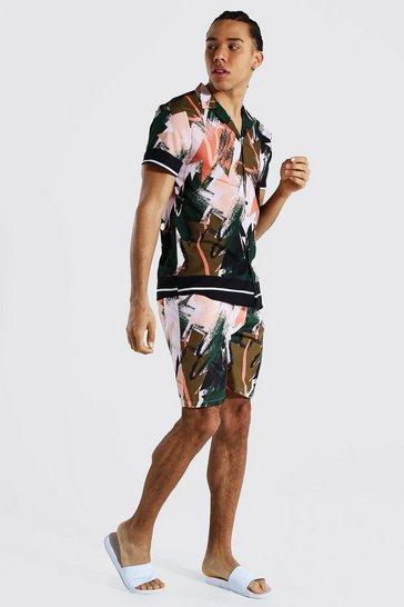 Khaki Tall Revere Abstract Shirt And Swim