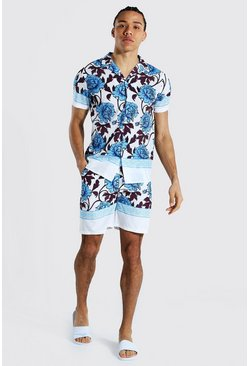 Light blue blue Tall Revere Floral Shirt And Swim