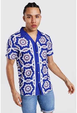 Tall Short Sleeve Revere Satin Border Shirt, Navy blu oltremare