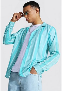 Mint green Tall Long Sleeve Striped Shirt