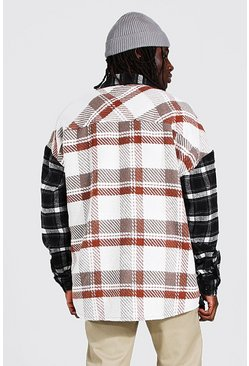 Black Oversized Back Spliced Flannel Overshirt