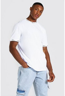 White Man Signature Neck And Cuff Print T-shirt
