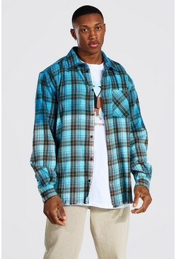 Blue Oversized Ombre Check Shirt