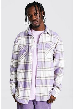 Lilac purple Long Sleeve Check Overshirt