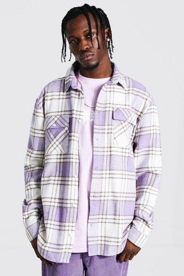 Lilac purple Long Sleeve Check Overshirt