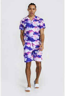 Lilac purple Tall Short Sleeve Revere Cloud Shirt And Swim