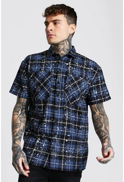Navy Oversized Short Sleeve Paint Splat Check Shirt