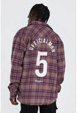 Oversized Check Shirt With Varsity Back Print, Purple morado