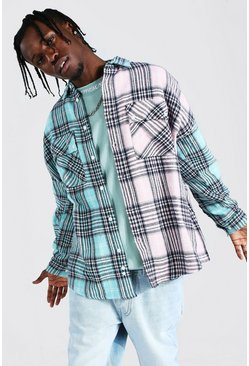 Light blue blue Oversized Spliced Check Overshirt