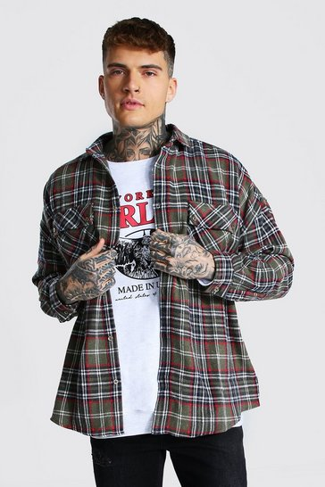 Chocolate brown Oversized Check Overshirt With Curved Hem