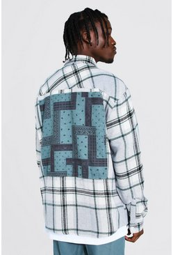 Light grey grey Oversized Check Bandana Back Patch Shirt