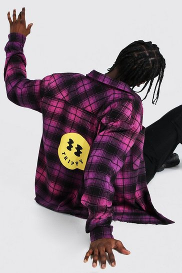 Purple Oversized Ombre Check Shirt With Print