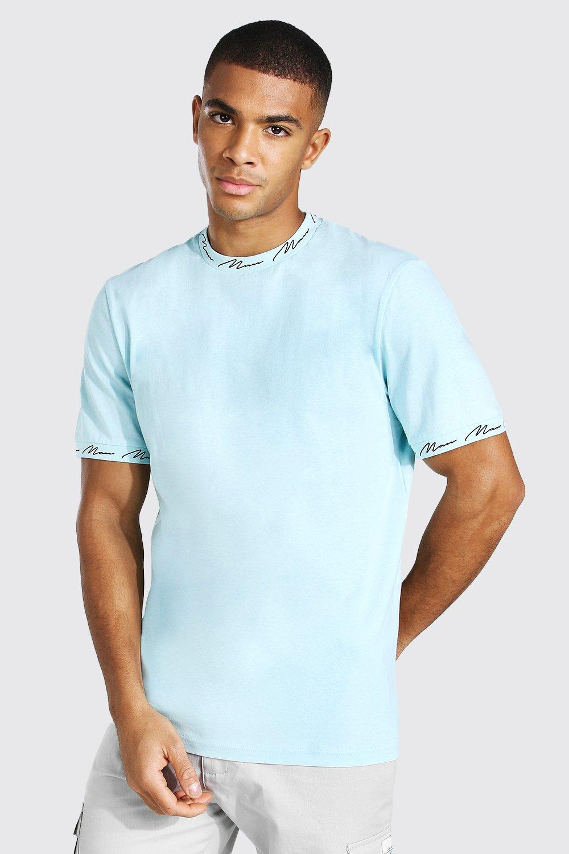 Men's T Shirts & Vests Man Signature Neck And Cuff Print T-shirt