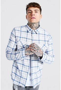 Pastel blue blue Oversized Long Sleeve Check Overshirt