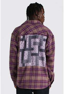 Purple Oversized Flannel Bandana Back Patch Shirt