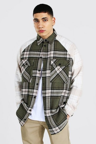 Khaki Oversized Long Sleeve Check Raglan Overshirt
