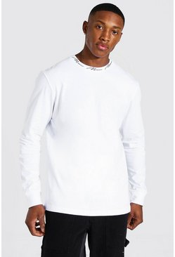White Man Signature Neck Print Long Sleeve T-shirt
