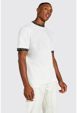 Ecru white Original Man Contrast Ringer Neck T-shirt