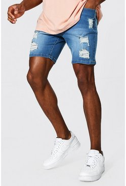 Light blue blue Skinny Stretch Heavily Distressed Denim Short