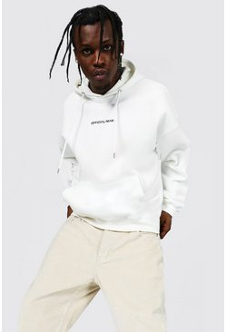 Ecru white Oversized Official Man Boxy Fit Hoodie