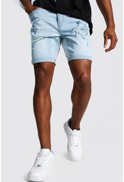 Ice blue Skinny Stretch Multi Rip Denim Short