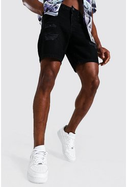 Washed black Slim Rigid Multi Rip Denim Short