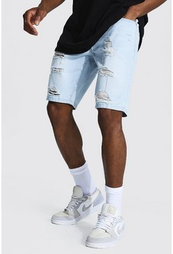 Light blue blue Slim Rigid Longer Length Ripped Denim Short