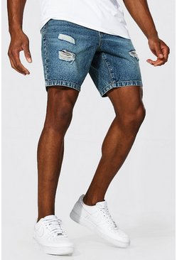 Vintage blue blue Slim Rigid Multi Rip Denim Short