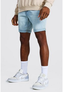 Ice blue Skinny Stretch Denim Short With Turn Up Hem