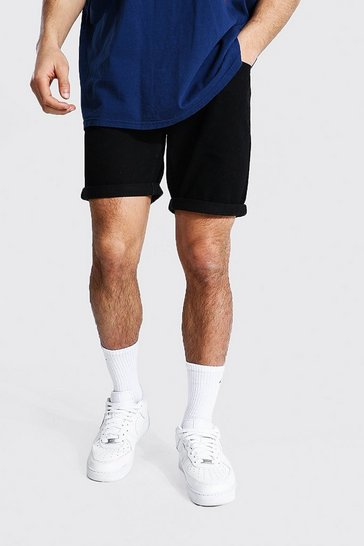 True black Slim Rigid Denim Short With Turn Up Hem