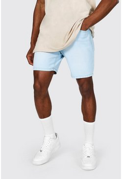 Light blue blue Slim Rigid Denim Short