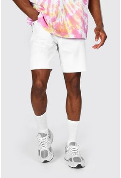 White Slim Rigid Denim Short