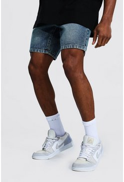 Vintage blue blue Slim Rigid Denim Short