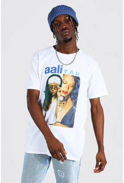 White Oversized Aaliyah Split License T-shirt