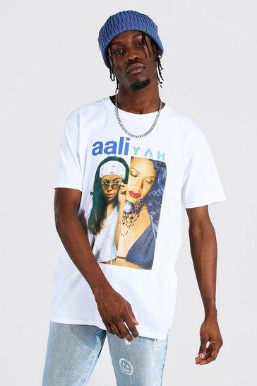 White Oversized Aaliyah Split License T-shirt