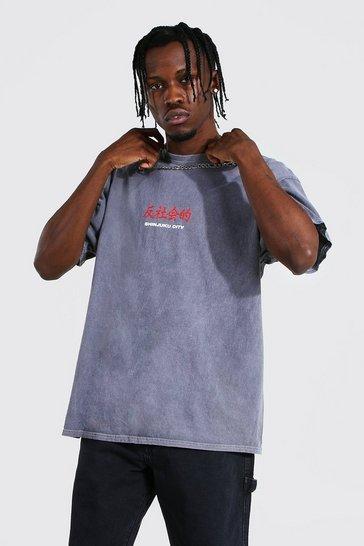 Grey Oversized Overdye Anti Social Print T-shirt