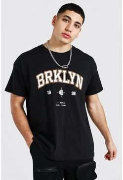 "Black svart ""Brooklyn"" Oversize t-shirt med tryck"