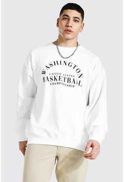 White Oversized Washington Print Sweatshirt