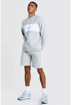 Grey marl grey Man Colour Block Short Sweater Tracksuit