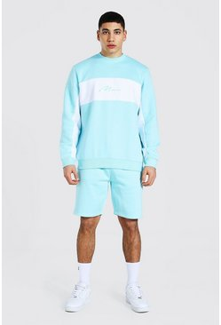 Pastel blue blue Man Colour Block Short Sweater Tracksuit
